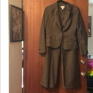 Brand new brown pinstripe three piece Loft suit
